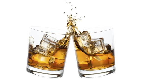 Whisky glasses toast